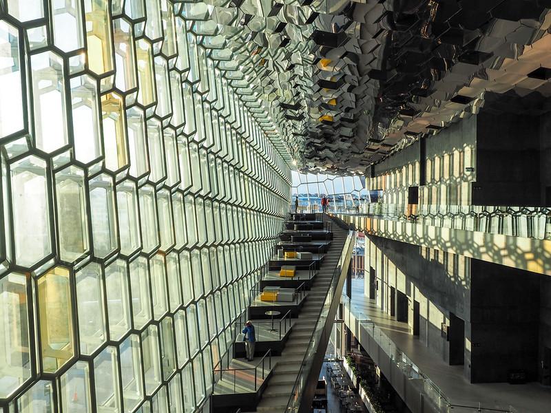 Inside the Harpa opera house in Reykjavik