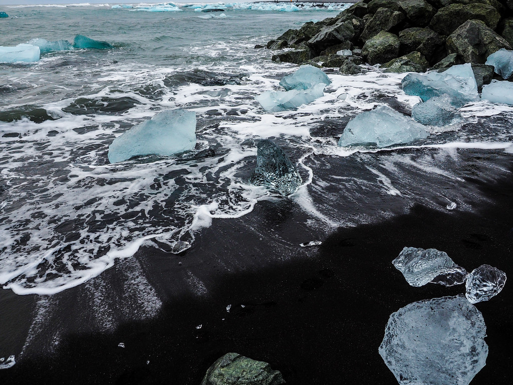 Glacier ice beach in Iceland